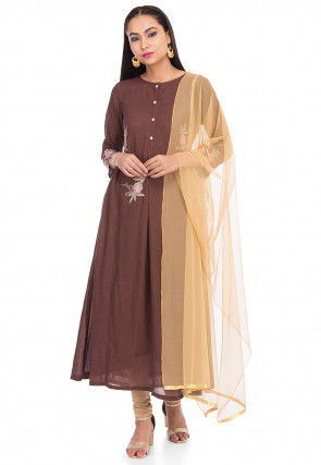 Embroidered Rayon A Line Suit in Brown