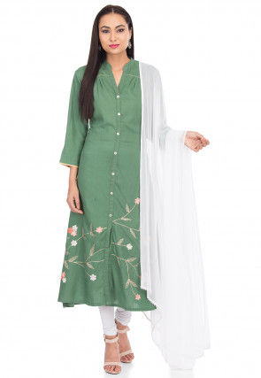 Embroidered Rayon A Line Suit in Green