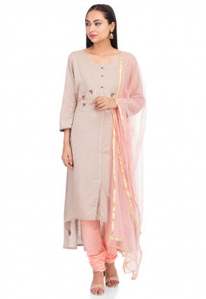 Embroidered Rayon A Line Suit in Light Beige