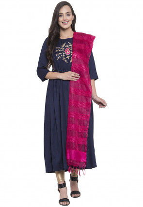 Embroidered Rayon A Line Suit in Navy Blue