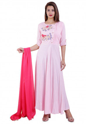 Embroidered Rayon Abaya Style Suit in Baby Pink