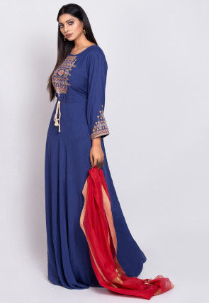 Embroidered Rayon Abaya Style Suit in Dark Blue