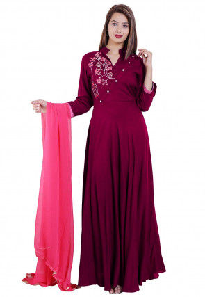 Embroidered Rayon Abaya Style Suit in Magenta