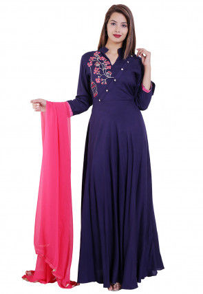 Embroidered Rayon Abaya Style Suit in Navy Blue