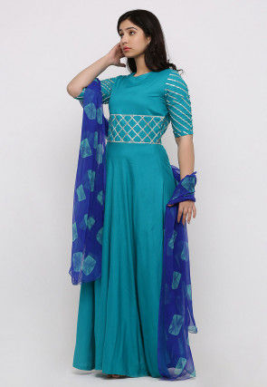 Embroidered Rayon Abaya Style Suit in Teal Green