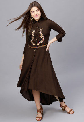 Embroidered Rayon Asymmetric Dress in Dark Brown