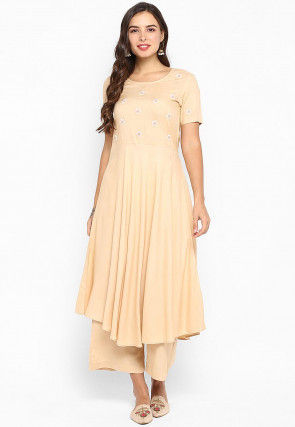 Embroidered Rayon Asymmetric Kurta in Beige