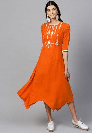 Embroidered Rayon Asymmetric Kurta in Dark Orange