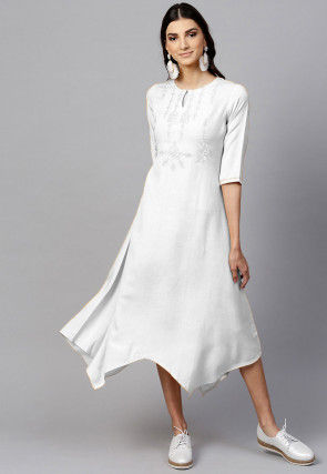 Embroidered Rayon Asymmetric Kurta in Off White