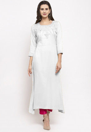 Embroidered Rayon Asymmetric Kurta Set in Off White