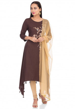 Embroidered Rayon Asymmetric Suit in Dark Brown