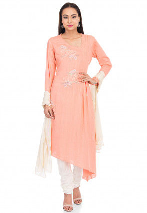 Embroidered Rayon Asymmetric Suit in Peach