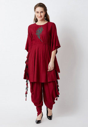 Embroidered Rayon Cinched Waist A Line Kurta in Maroon