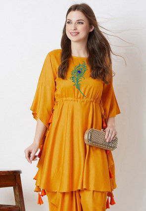 Embroidered Rayon Cinched Waist A Line Kurta in Mustard