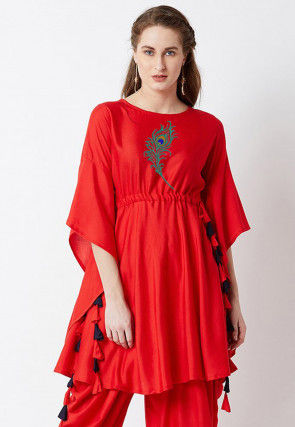Embroidered Rayon Cinched Waist A Line Kurta in Red