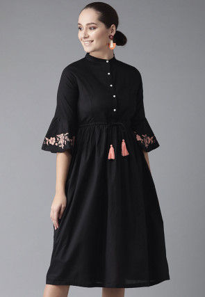 Embroidered Rayon Clinched Waist Midi Dress in Black