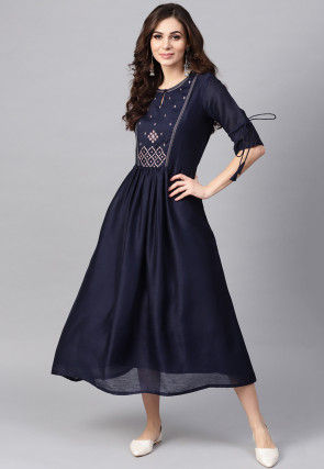 Embroidered Rayon Cotton A Line Kurta in Navy Blue