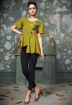 Embroidered Rayon Cotton High Low Top in Light Olive Green