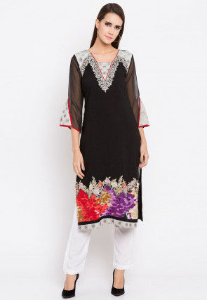 Embroidered Rayon Cotton Kurta in Black