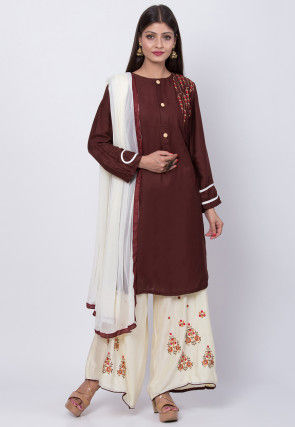 Embroidered Rayon Cotton Pakistani Suit in Dark Brown