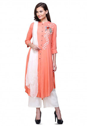Embroidered Rayon Cotton Pakistani Suit in Peach