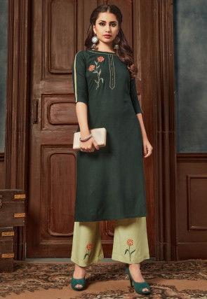 Embroidered Rayon Cotton Straight Kurta Set in Dark Green