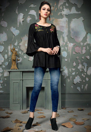 Embroidered Rayon Cotton Top in Black