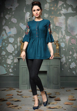 Embroidered Rayon Cotton Top in Teal Blue