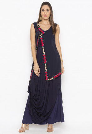Embroidered Rayon Cowl Jacket Style Kurta Set in Navy Blue