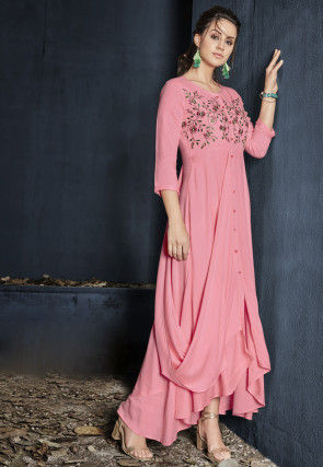 Embroidered Rayon Cowl Style Gown in Pink