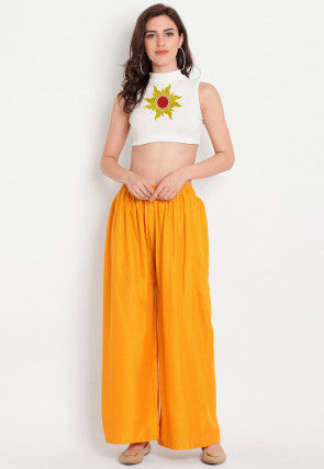 Embroidered Rayon Crop Top in Off White