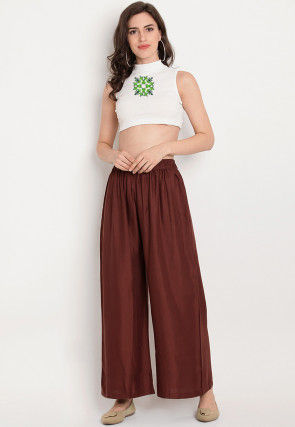 Embroidered Rayon Crop Top with Palazzo in Off White and Brown