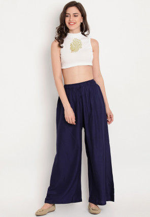 Embroidered Rayon Crop Top with Palazzo in White and Navy Blue