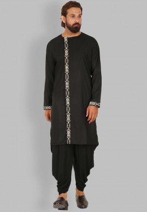 Embroidered Rayon Dhoti Kurta in Black