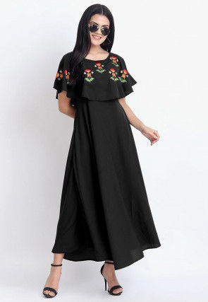 Embroidered Rayon Dress in Black