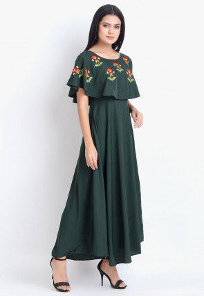 Embroidered Rayon Dress in Dark Green