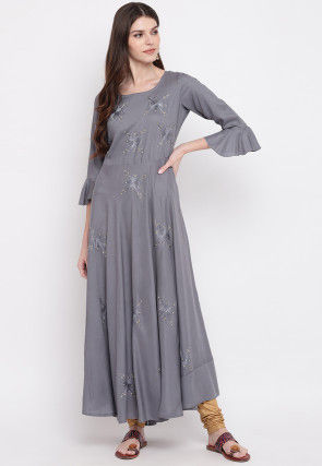 Embroidered Rayon Dress in Grey