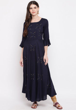 Embroidered Rayon Dress in Navy Blue