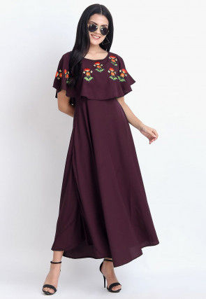 Embroidered Rayon Dress in Wine