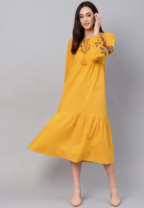 Embroidered Rayon Dress in Yellow
