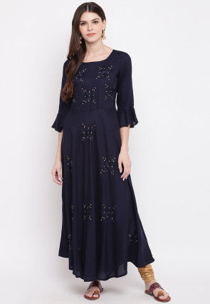 Embroidered Rayon Flared Kurta in Navy Blue