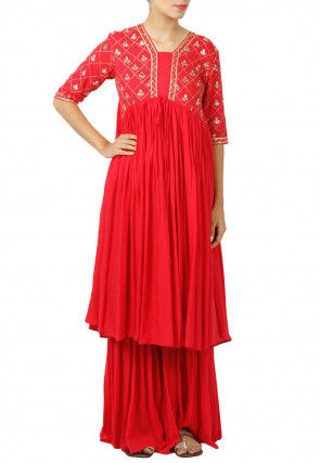 Embroidered Rayon Flared Kurta Set in Red