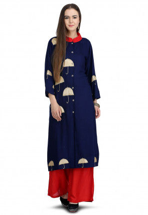 Embroidered Rayon Front Open Kurta Set in Royal Blue