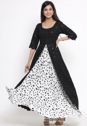 Embroidered Rayon Front Slit Kurta N Skirt in Black