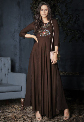 Embroidered Rayon Gown in Brown