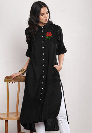Embroidered Rayon High Low Kurta in Black