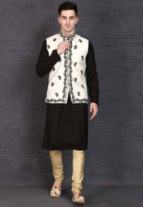 Embroidered Rayon Kurta Jacket Set in Black and White