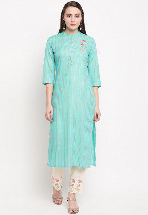 Embroidered Rayon Kurta Set in Light Blue