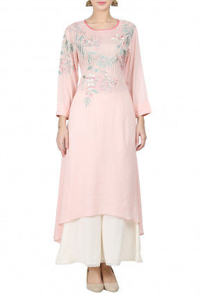 Embroidered Rayon Kurta Set in Peach