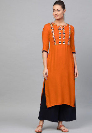 Embroidered Rayon Kurta with Palazzo in Orange